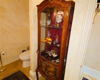 """$500 ANTIQUE FRENCH CURIO CABINET 24.25""""W x 16.5""""D x 74""""H"""
