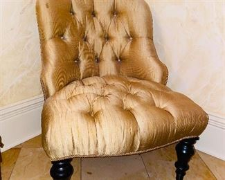 """$100 BEIGE TUFTED CHAIR SOLD AS IS (Stain) 23.5""""W x 30.5""""D x 31""""H"""
