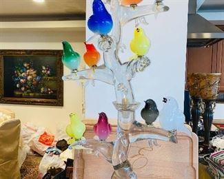 "$495 ITALIAN MURANO BIRDS ART GLASS ""BIRDS IN THE TREE"" 42""L x 19""W"
