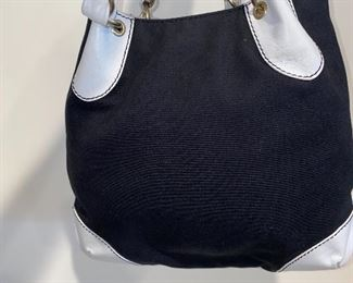 $700 AUTHENTIC CHANEL BLACK CANVAS AND WHITE LEATHER HANDLES SHOULDER BAG