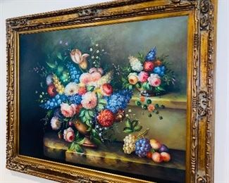 """$350 FRUIT & FLOWERS OIL ON CANVAS PAINTING 57.5""""W x 45""""H x 3""""D"""