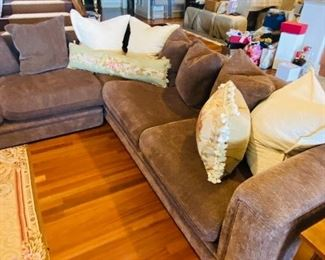 """$1,800 BROWN UPHOLSTERED SECTIONAL FROM DESIGN CENTER IN FLORIDA NEWLY REUPHOLSTERED LEFT SIDE 113""""L x 40""""D x 27"""" RIGHT SIDE 104"""" x 40""""D x 27""""H"""