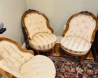 """$150 FOR ALL 3 3 ANTIQUE CHAIRS - NEED TO BE REUPHOLSTERED 21.5""""W x 28.5""""D x 31.5""""H"""
