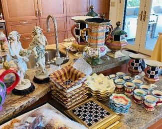 LARGE COLLECTION OF MACKENZIE CHILDS DINNERWARE , HOME DECORATIONS, CLOCK, CHANDELIER, TABLES AND MUCH MORE