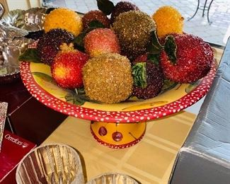 FOOTED BOWL WITH FAUX JEWELED FRUIT