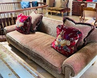 """$4,800 BAKER FURNITURE COCO CHANEL SOFA / COUCH UPHOLSTERED IN RARE MOHAIR VELVET                  98""""L x 43""""W x 30""""H"""