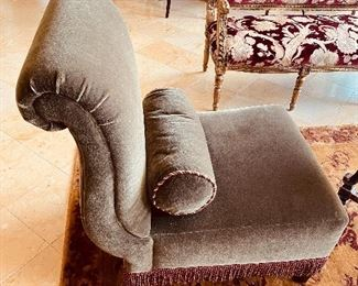 """$2,000 EACH -2 BAKER FURNITURE MOHAIR VELVET GREEN UPHOLSTERED ARMLESS CHAIRS WITH ROUND PILLOW   25.5""""W x 31.5""""D x 35.5""""H"""