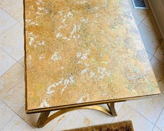 """$800 BAKER FURNITURE MODERN GOLD WITH GREEN SPLASH SIDE TABLE    24""""L x 24""""W x 26""""H"""