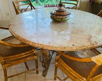 $2,000 ROUND GRANITE STONE TOP TABLE WITH METAL BASE