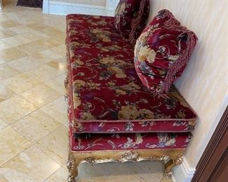 """$400 GOLD WOOD FRAME RED FLORAL UPHOLSTERED BENCH 77""""L x 30.25""""W x 18""""H"""