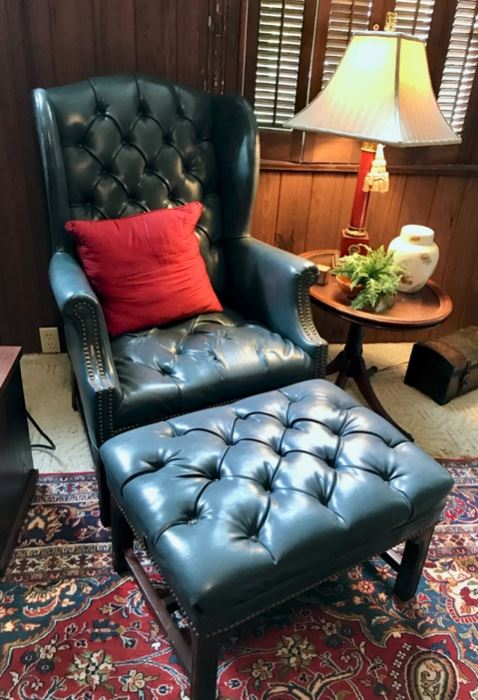 Blue Leather Chair with Ottoman
