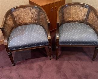 Office 3  Chairs Blue Fabric w Cane Back