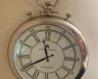 #1- Silver Pocketwatch Wall Clock- 24 1/2w x 31t- $100