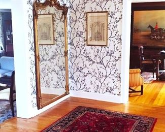 """Antique Formal Large Gilded Mirror (7.5"""" X 4'), Multiple  Sizes In Handmade Wool Rugs"""