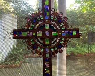 Found Object  Stained Glass Cross  by  Steve Wilson