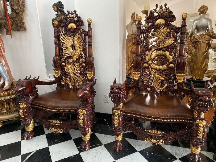 Drago and Phoenix throne Chairs