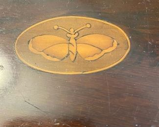Antique Stand w/inlaid Butterfly