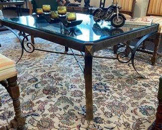 Glass Top Metal Base Coffee Table