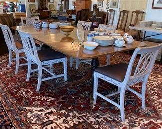 Antique Double Pedestal Dining Table w/4 Leaves