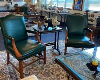 Green Faux Leather Arm Chairs