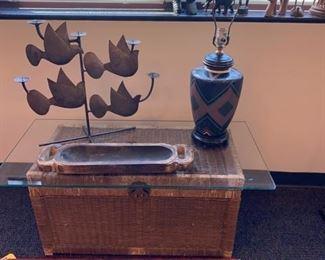 Glass top Wicker Trunk - Metal Bird Candleholder - Signed Pottery Lamp