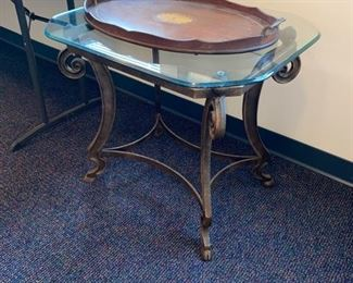 Glass top End Table - Inlaid Mahogany Tray