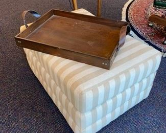 Upholstered Ottoman - Wood Tray w/Leather Handles