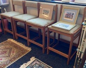 Set of Four Mobler Teak Barstools