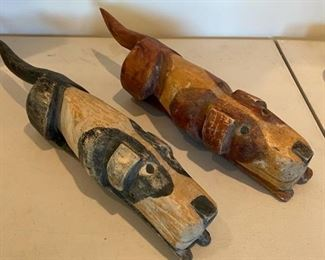 Carved Wood Dogs