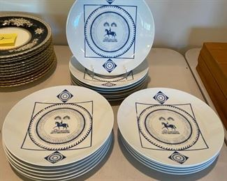 Seltmann Weiden blue & white horse & rider plates, 18