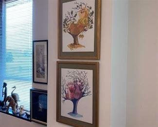Pair Mid- Century Modern Framed Prints