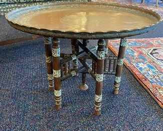 Vintage Brass Tray on Inlaid Stand