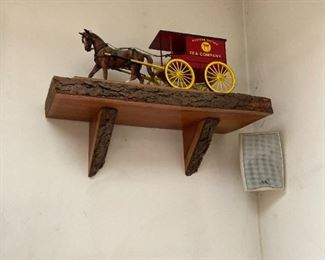 TOY HORSE WITH AD VERTISING WAGON