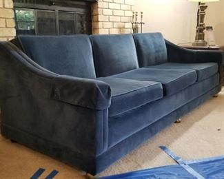 blue velvet sofa - side view