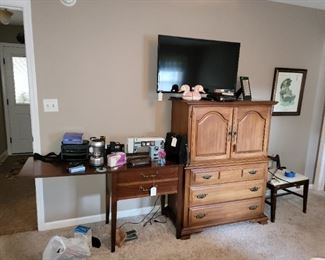 Samsung TV, Bachelors Cestby Sumter Cabinet Co and Dressmaker Sewing machine