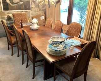 """Mid-Century Modern, Dillingham Style Dining Table and Chairs, 8'9"""" Long  x 3'2"""" Wide"""