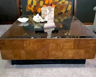 """Vintage Wood Patchwork and Smoked Glass Block Style Coffee Table-40"""" Wide, 40"""" Deep,  15"""" High"""