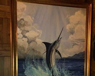 """Original Guy Harvey Marlin Painting, Signed and Dated. 6'8"""" long x 4'5"""" Wide (measurements include the frame)"""