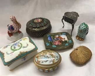 Collection of Small Boxes including some not shown.  Halcyon Days Enamel, also Herend Figurines