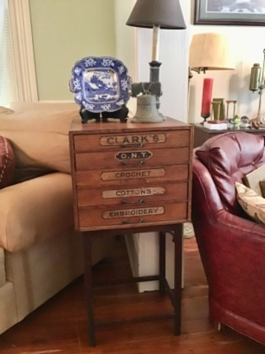 Antique Clark and Courts Thread Cabinet
