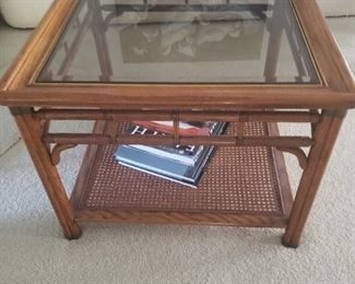 nice wooden coffee table with glass top
