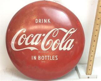 1950S COCA COLA BUTTON SIGN, 16 INCH