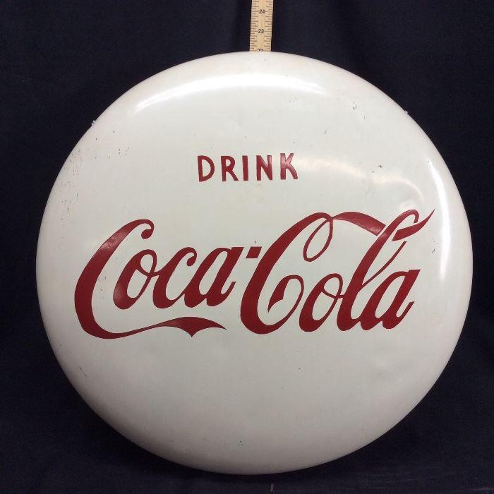 VINTAGE DRINK COCA COLA WHITE BUTTON SIGN