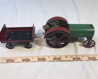 Structo Antique Toy Wind Up Tractor with Trailer
