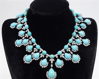 Harry Winston Turquoise Diamond & Platinum