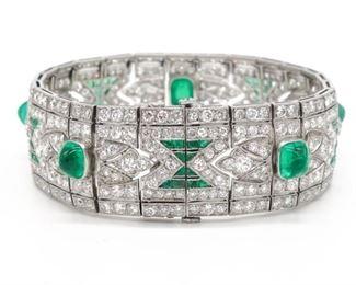 Art Deco Platinum Emerald Diamond