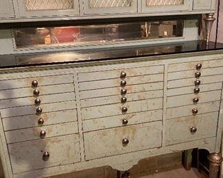 Fabulous Antique Dental cabinet! top area has milk glass  interior, Turned wood legs, All original