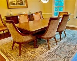 Ernest Hemingway Collection Dining Room Table Set by Thomasville. Castillian Double Pedestal Table with 8 Marceliano Chairs.  $5,500