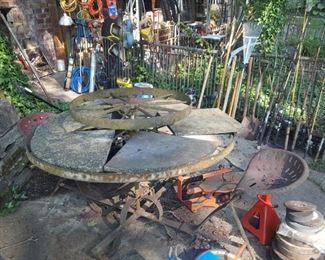 Unique farm part table, with slate top.