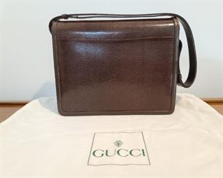 Gucci Brown Leather With Thin Band  Gold Accents